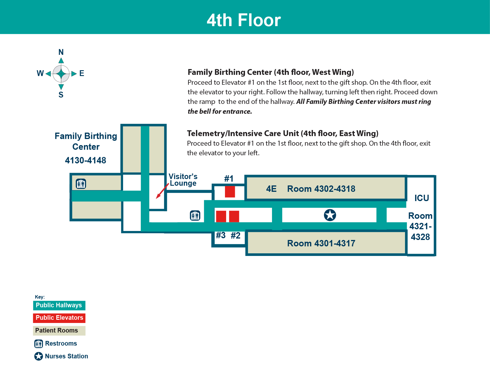 FHN Memorial Hospital fourth floor layout